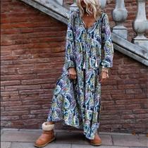 Fashion V-neck Long Sleeve Print Maxi Dress