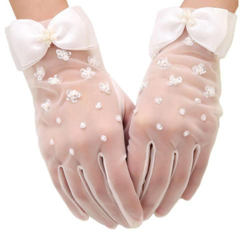 Women Sweet Wedding Sheer Short Gloves Handmade Faux Pearl Sequins Flower Beaded Bowknot Decor Bridal Prom Party Mittens