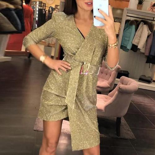 Fashion Sexy Deep V Long Sleeve Bodycon Dress