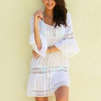 Casual Sexy Lace   Splicing Hollow Out Horn Sleeve Sunscreen Mini Dress