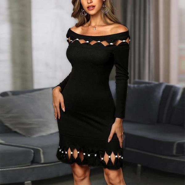 Off Shoulder Short Sleeve Bodycon Dress