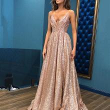 Sexy Sling Deep V-Neck Gilded Evening Dress