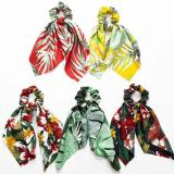 DIY Bow Streamers Elastic Hair Scrunchies Bohemian Floral Printed Knotted Ribbon Ponytail Scarf Hair Ties Women Girls Hair Rings