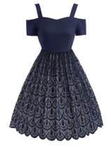 1950s Lace Cold Shoulder Dress