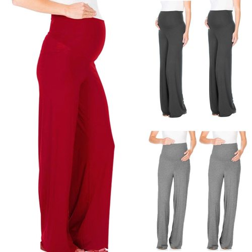 Women's Maternity Pants Pregnancy Comfort High Waisted Tummy Pants Solid Trousers Loose Wide Leg Pants For Pregnant