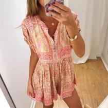 V-Neck Short Sleeve Printed Beach Dress