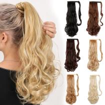 EBUYTIDE Long Straight Synthetic Velcro Ponytail Clip In Hair Tail False Hair Ponytail Hairpiece with Hairpins Hair Extension