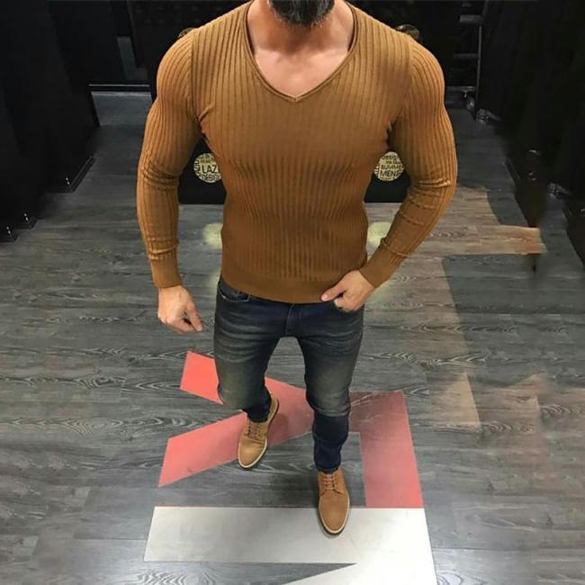 Men's Fashion Stylish Slim Solid Color Striped Tight Shirt
