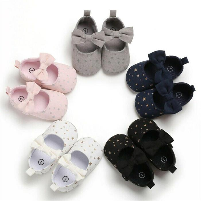 Hot Toddler Girl Crib Shoes Newborn Baby Girls Boys Bowknot Soft Sole Dot Print Casual Shoes