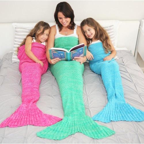 Mermaid Tail Blanket Crochet Mermaid Blanket For Adult Super Soft All Seasons Sleeping Knitted Blankets