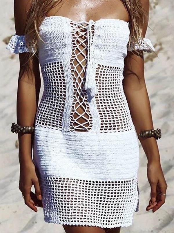 Off-the-shoulder Hollow Crochetgo Cover-up Dress