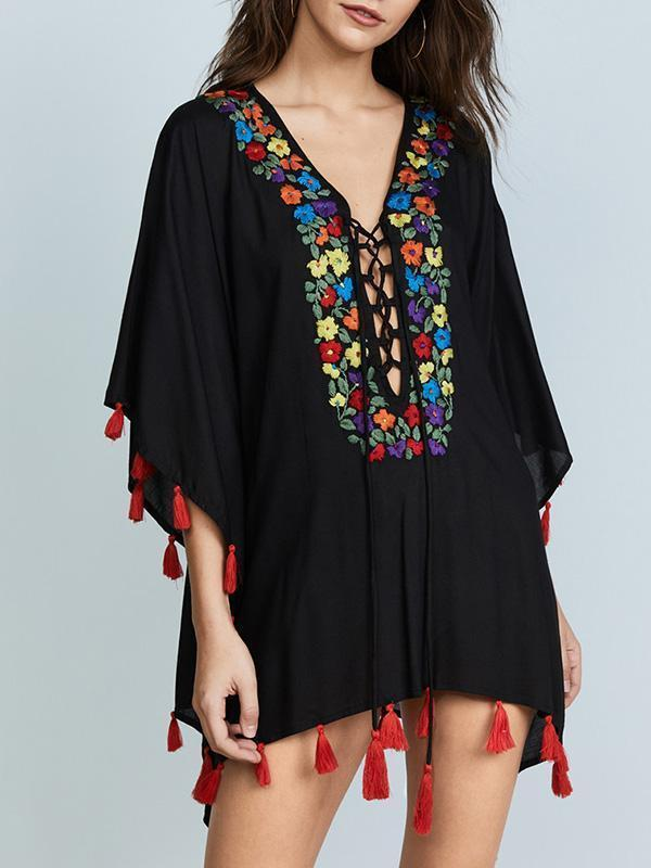 Red Tassels Bandage Sleeveless Embroidered Cover-Ups