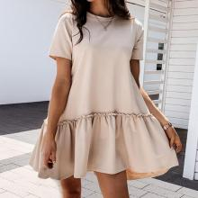 EBBUYTIDE Casual Crew Neck Ruffle Women Dress Short -Sleeved Solid Color Loose Mini Dress Summer Style A -Line Ladies Short Dress