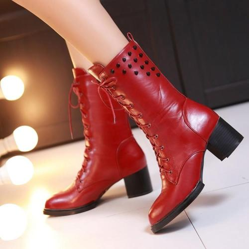 Rivets Lace Up Pointed Toe Middle Chunky Heels Short Boots