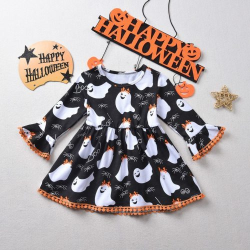 Girl Dress Toddler Kids Baby Formal Halloween Ghost Print Princess Party Dress Outfits Girls Fashion Winter Leisure Dress