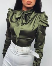 Solid Tie Neck Satin Blouse