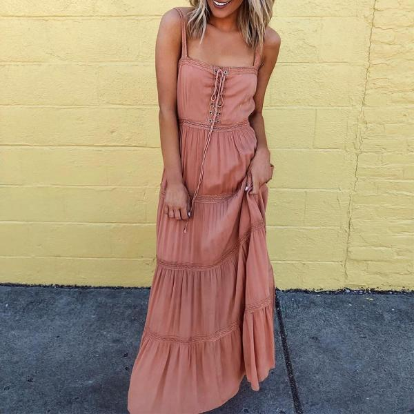 New Sleeveless Solid Ruched Maxi Dress