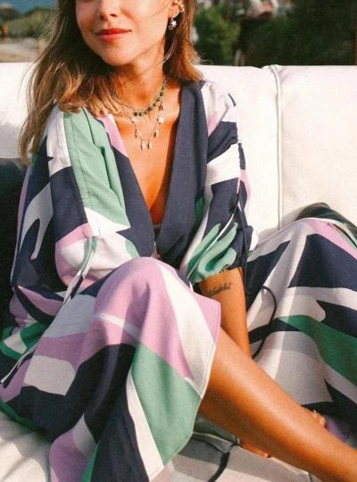 EBUYTIDE Fashion V-Neck Long Sleeve Printed Loose Jumpsuit