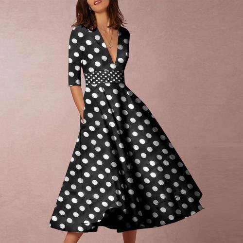 EBUYTIDE V-Neck Polka Dot Printed Casual Dresses