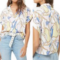 Sexy Print V Neck Casual Short Sleeve Shirt