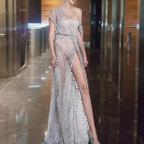 Sexy Tube Top One-shoulder Sequined Split Mopping Evening Dress
