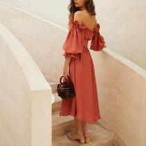 Women's Elegant Romantic Solid Color One-Piece Dress