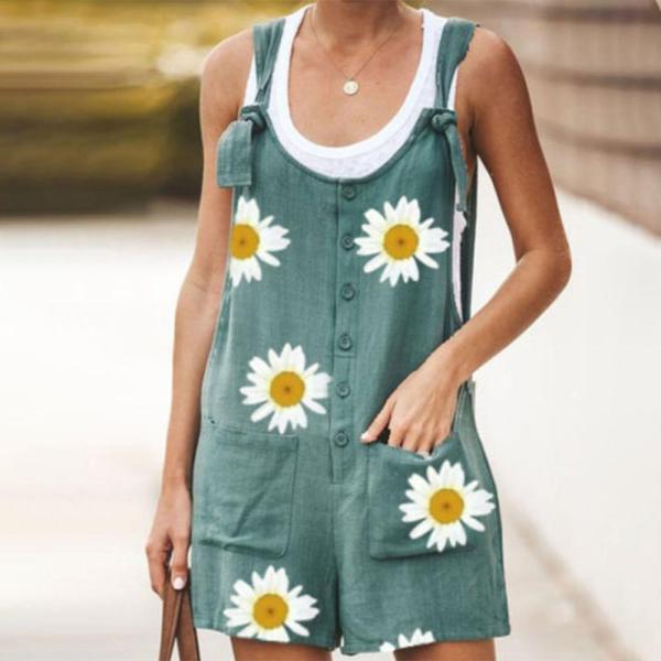 EBUYTIDE New Daisy Print Button Sleeveless Jumpsuit