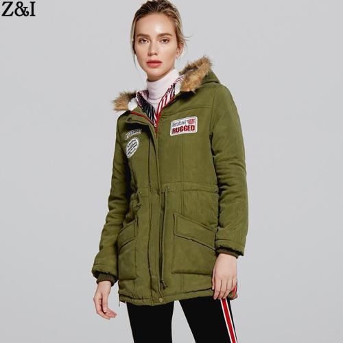 Faux Fur Collar Drawstring Pockets Women Hooded Long Parka Jacket Coat