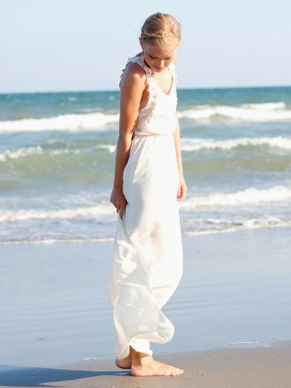 Flower Lace Strap White Maxi Dress