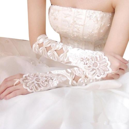Womens Silky Satin Wedding Fingerless Long Gloves Hollow Out Bowknot Embroidery Sequins Lace Bridal 1920s Mittens