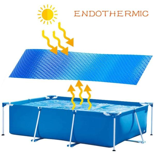 Swimming Pool Cover Mat for Pool Rectangular Solar Tarpaulin Swimming Pool Cover Solar Foil Pool Cover Home Pool Heating Cover