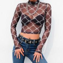 Mesh Sexy Long Sleeve Crop Tops Y2K T Shirt