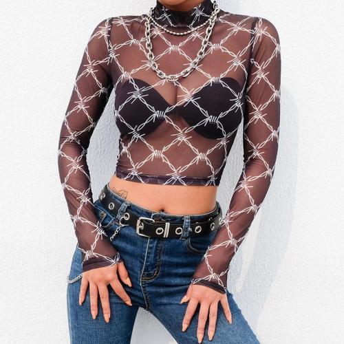 Mesh Sexy Long Sleeve Crop Tops Y2K T Shirt