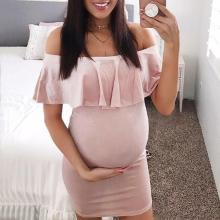 Short Plus Size Dress Summer Maternity Dresses Fashion Womens Pregnants Off Shoulder Ruffles Solid Nursing Maternity Dress