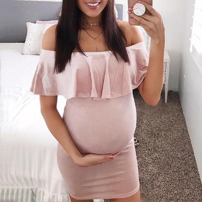 Short Plus Size Dress Summer Maternity Dresses Fashion Womens Pregnants Off Shoulder Ruffles Solid Nursing Maternity Dress