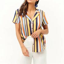 Sexy Stripe Print V Neck Casual Short Sleeve Shirt