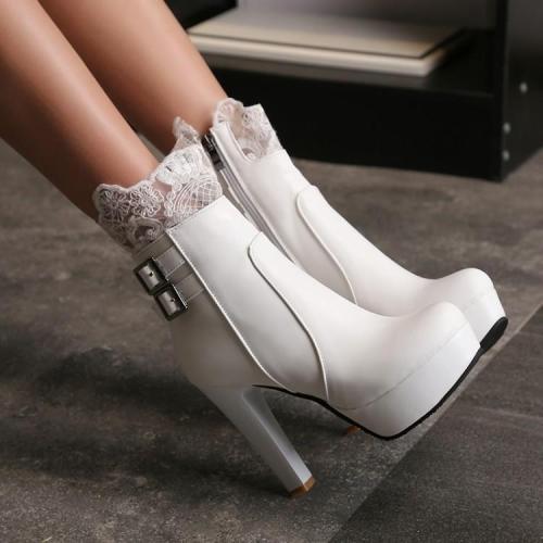 Lace Decorate Side Zipper Platform Stiletto High Heels Short Boots