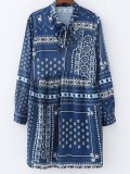 Fashion Belted Printed Colour Long Sleeve Dresses