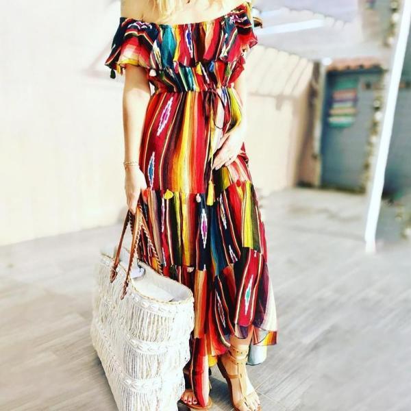 Vintage Off The Shoulder Print Maxi Dress