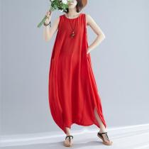 Casual Round Neck Sleeveless Pure Colour Linen Jumpsuit