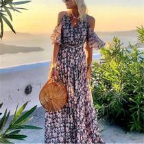 Fashion V-neck Off-the-shoulder Print Dress