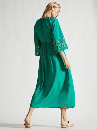 Waist--Strap Inwrought Beach Midi Dresses