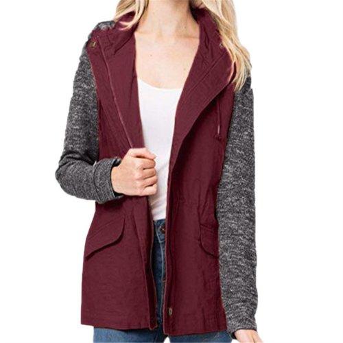 Pure Color Fashion Knit Knit Hoodies