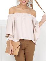 Off Shoulder  Slit  Plain Shirts&Blouses