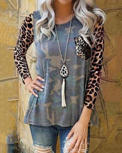 Leopard Sleeve Camouflage Top