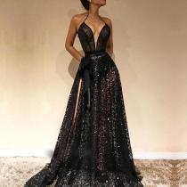 Sexy V Neck Belted Sleeveless Lace Evening Dress