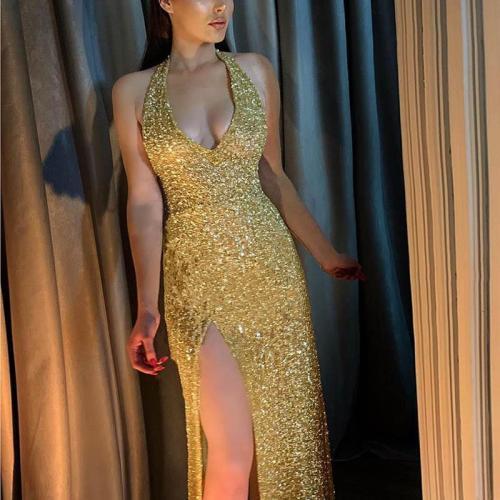 Sexy Deep V Halter Tight Gold Evening Dress