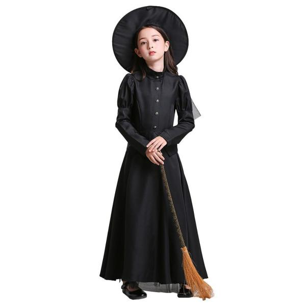 Girls Black Witches Dress Costumes Cosplay Halloween Party Dress Costume