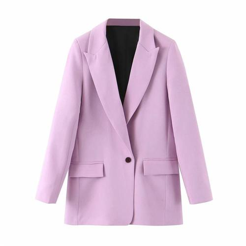 Women Office Wear Blazers 2020 Solid Casual Notched Collar Long Sleeve Single Button Pockets Jacket Suits Coat Female Chic Tops