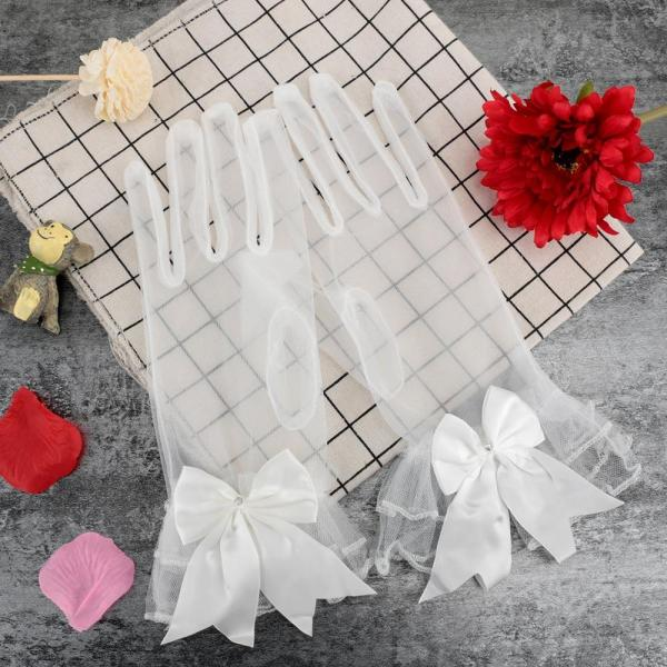1 Pair Women's Lace White Bow Bride Wedding Gloves Ladies Short Lace Gauze Gloves Party Cosplay Accessories